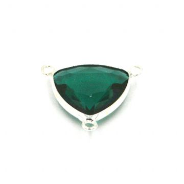19.5*19.5mm green colour triangle crystal connector - with 3 rings
